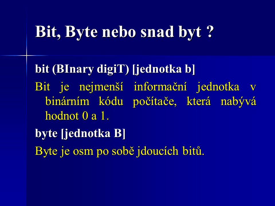 Bit, Byte nebo snad byt bit (BInary digiT) [jednotka b]